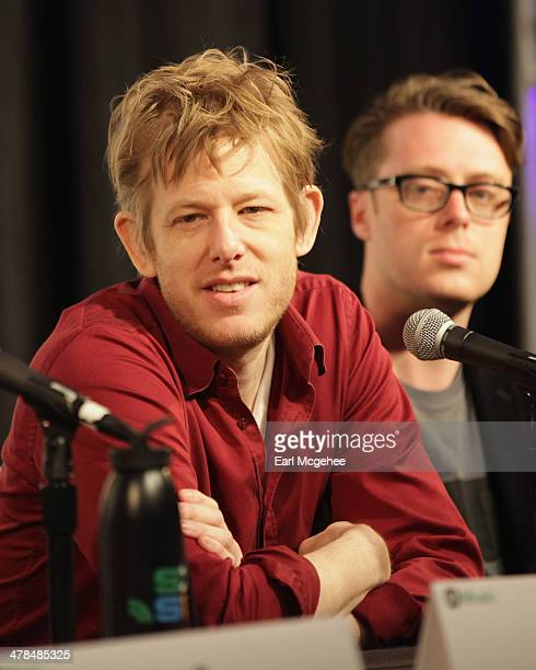 Musicians Britt Daniel and Jeremy Messersmith speak onstage at Warehouse Songs and Stories during the 2014 SXSW Music Film Interactive at Austin...