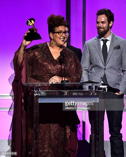 Musicians Brittany Howard and Steve Johnson of Alabama Shakes winners of Best Alternative Music Album for 'Sound Color' accept award onstage during...