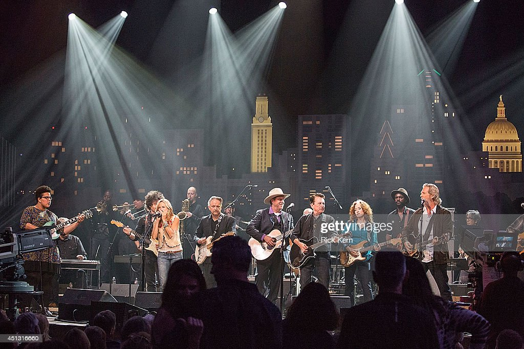 Musicians Brittany Howard of Alabama Shakes, Doyle Bramhall II, Sheryl Crow, Jimmie Vaughan, Robert Earl Keen, Joe Ely, Bonnie Raitt, Gary Clark Jr., and Jeff Bridges perform on stage during 'Austin City Limits Celebrates 40 Years' at ACL Live on June 26, 2014 in Austin, Texas.