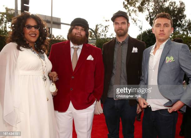 Musicians Brittany Howard Zac Cockrell Steve Johnson and Heath Fogg of the Alabama Shakes attend the 55th Annual GRAMMY Awards at STAPLES Center on...