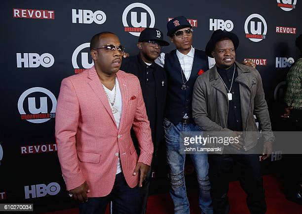 Musicians Brooke Payne Michael Bivins Ronnie DeVoe and Ricky Bell of Bell Biv DeVoe attends 2016 Urbanworld Film Festival Shots Fired The New Edition...