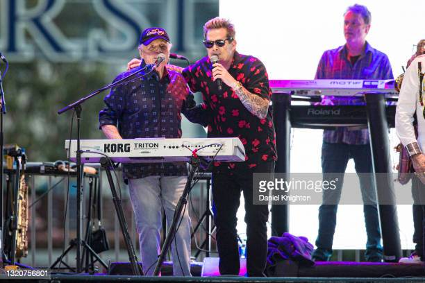Musicians Bruce Johnston and Mark McGrath of The Beach Boys perform on stage at PETCO Park on May 29, 2021 in San Diego, California.