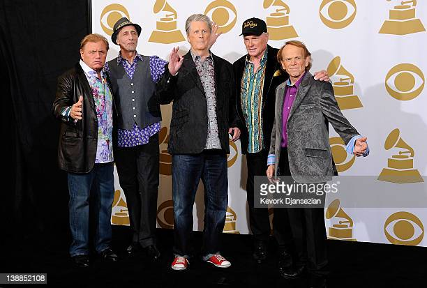 Musicians Bruce Johnston, David Marks, Brian Wilson, Mike Love and Al Jardine of The Beach Boys pose in the press room at the 54th Annual GRAMMY...