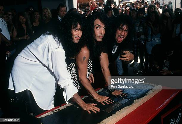 Musicians Bruce Kulick Paul Stanley and Gene Simmons of Kiss attending 'Kiss Inducted Into Guitar Center Rockwalk' on May 17 1993 at Guitar Center...
