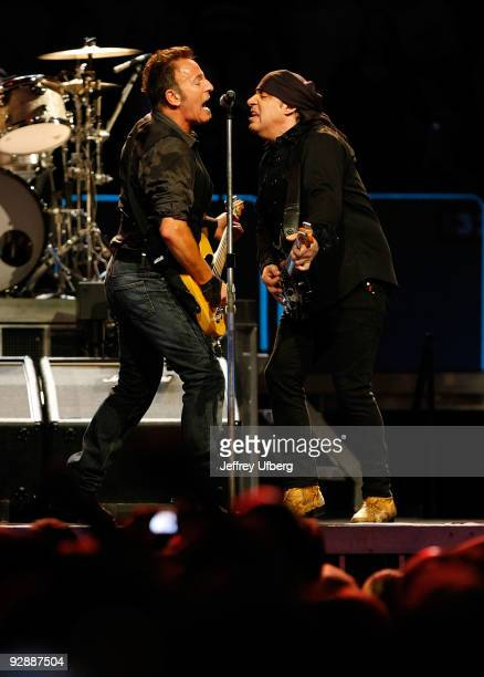 Musicians Bruce Springsteen and Steven Van Zandt perform at Madison Square Garden on November 7 2009 in New York City