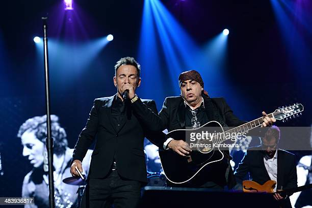 Musicians Bruce Springsteen and Steven Van Zandt perform onstage at the 29th Annual Rock And Roll Hall Of Fame Induction Ceremony at Barclays Center...