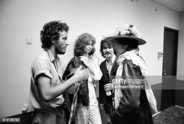 Musicians Bruce Springsteen John Prine and Bob Dylan are photographed backstage at Veterans Memorial Coliseum during the Rolling Thunder Revue on...