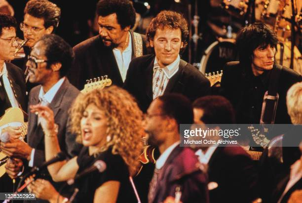 Musicians Bruce Springsteen, Ronnie Wood, Tina Turner, David and Jimmy Ruffin and David Sanborn attend the 4th Annual Rock N Roll Hall of Fame...