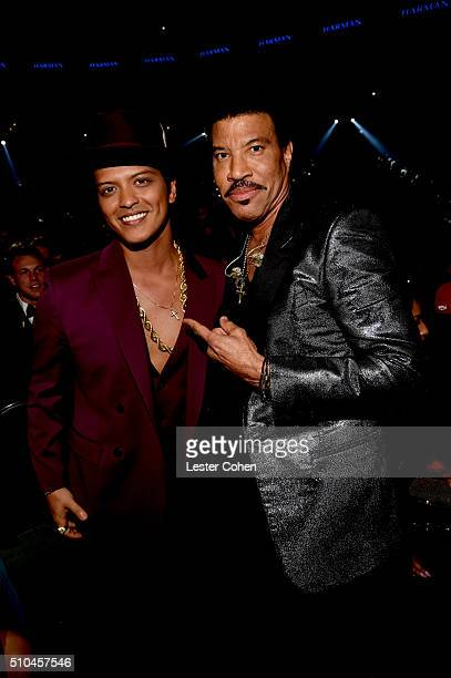 Musicians Bruno Mars and Lionel Richie attend The 58th GRAMMY Awards at Staples Center on February 15 2016 in Los Angeles California