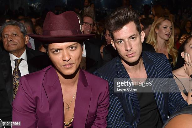 Musicians Bruno Mars and Mark Ronson attend The 58th GRAMMY Awards at Staples Center on February 15 2016 in Los Angeles California