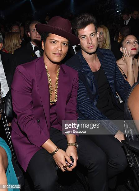 Musicians Bruno Mars and Mark Ronson attend The 58th GRAMMY Awards at Staples Center on February 15, 2016 in Los Angeles, California.