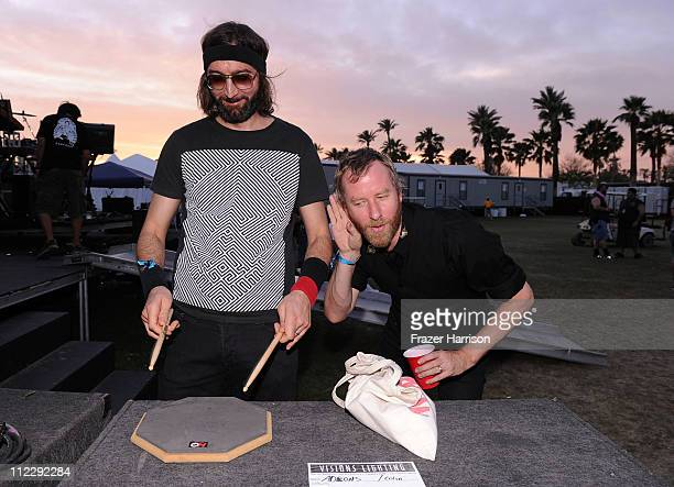 Musicians Bryan Devendorf and Matt Berninger of the band The National backstage during Day 3 of the Coachella Valley Music Arts Festival 2011 held at...