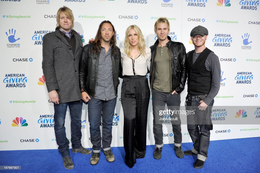 Musicians Bryce Soderberg, Ben Carey, Natasha Bedingfield, Jason Wade and Rick Woolstenhulme Jr. arrive at the American Giving Awards presented by Chase held at the Pasadena Civic Auditorium on December 7, 2012 in Pasadena, California.
