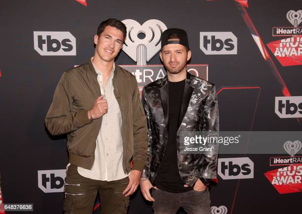 Musicians Caleb Shapiro and Rob Resnick of music group Timeflies attend the 2017 iHeartRadio Music Awards which broadcast live on Turner's TBS TNT...