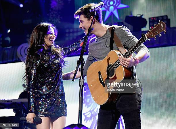 Musicians Camila Cabello of Fifth Harmony and Shawn Mendes perform onstage during Z100's Jingle Ball 2015 at Madison Square Garden on December 11...