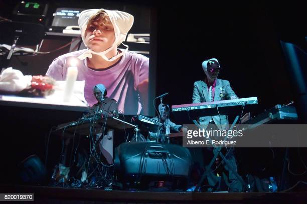 Musicians Carlos Chairez Gilberto Cerezo and Ulises Lozano of the band Kinky attend Film Independent at LACMA's Bring The Noise Wierd Science at The...