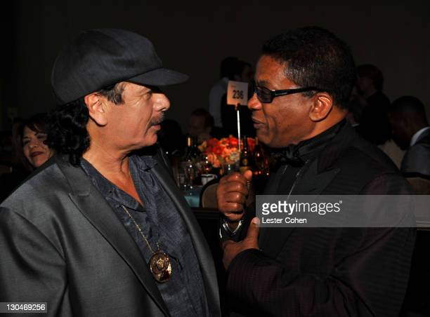 Musicians Carlos Santana and Herbie Hancock attends the 52nd Annual GRAMMY Awards Salute To Icons Honoring Doug Morris held at The Beverly Hilton...