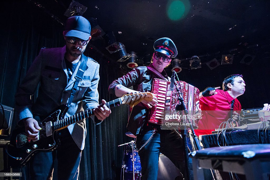 Musicians Carlos Sotelo, Ulises Lozano and Marcelo Tijerina aka Mexican Dubwiser perform with Mexican Dubwiser at Viper Room on May 10, 2013 in West Hollywood, California.