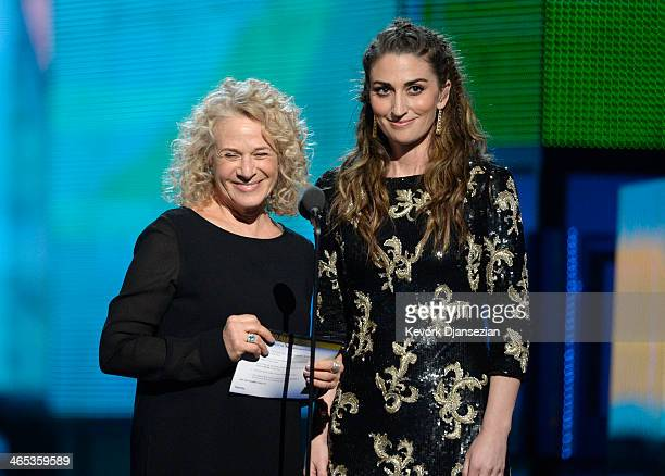 Musicians Carole King and Sara Bareilles speak onstage during the 56th GRAMMY Awards at Staples Center on January 26 2014 in Los Angeles California