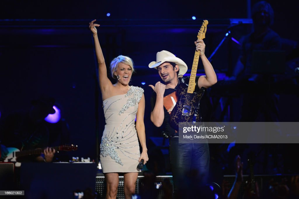 Musicians Carrie Underwood and Brad Paisley perform onstage during the 48th Annual Academy Of Country Music Awards - ACM Fan Jam After Party at Orleans Arena on April 7, 2013 in Las Vegas, Nevada.
