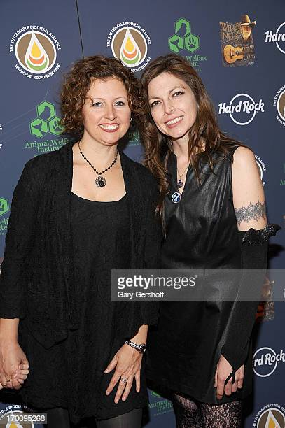 Musicians Cathy Guthrie and Amy Nelson of Folk Uke attend the Hard Rock International's Wille Nelson Artist Spotlight Benefit Concert at Hard Rock...