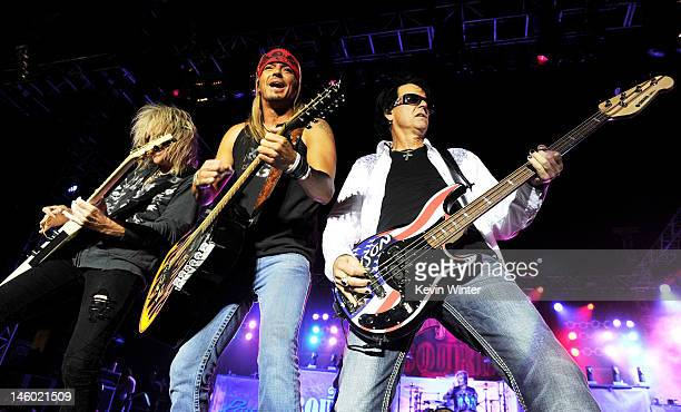 """Musicians C.C. DeVille, Bret Michaels and Bobby Dall of Poison perform at the after party for the premiere of Warner Bros. Pictures' """"Rock Of Ages""""..."""