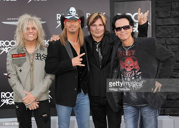 Musicians CC Deville Bret Michaels Rikki Rockett and Bobby Dall of Poison arrive at the 'Rock of Ages' Los Angeles premiere at Grauman's Chinese...