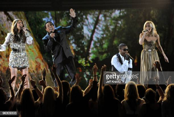 Musicians Celine Dion Smokey Robinson Usher and Carrie Underwood perform onstage during the 52nd Annual GRAMMY Awards held at Staples Center on...