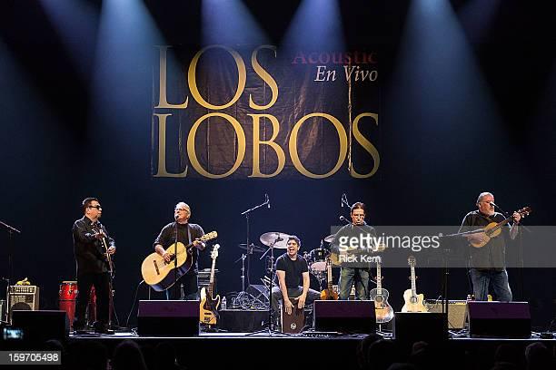 Musicians Cesar Rosas Conrad Lozano Cougar Estrada Louie Pérez and David Hidalgo of Los Lobos perform in concert at ACL Live on January 18 2013 in...