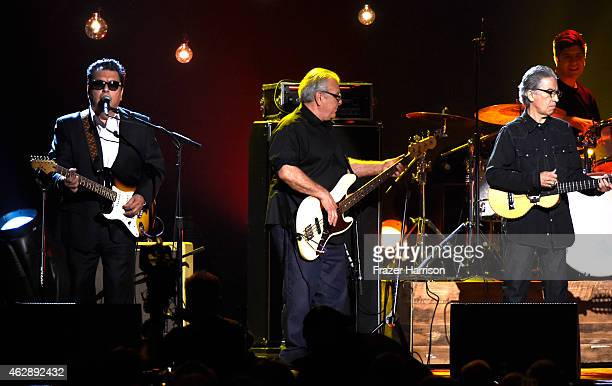 Musicians Cesar Rosas Conrad Russel Lozano and and Louis Perez of Los Lobos perform onstage at the 25th anniversary MusiCares 2015 Person Of The Year...