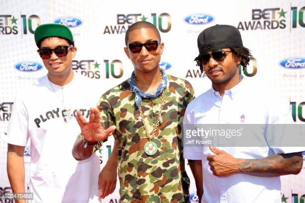 Musicians Chad Hugo Pharrell Williams and Shay Haley of NERD arrive at the 2010 BET Awards held at the Shrine Auditorium on June 27 2010 in Los...