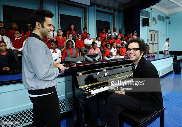 Musicians Chad King and Ian Axel attend A Great Big World celebrates VH1 Save The Music Keys and Kids piano grant donated by Alex and Ani at...
