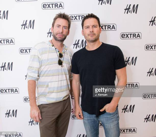 Musicians Chad Kroeger and Ryan Peake of the band Nickelback visit Extra Studios at HM Times Square on June 12 2017 in New York City