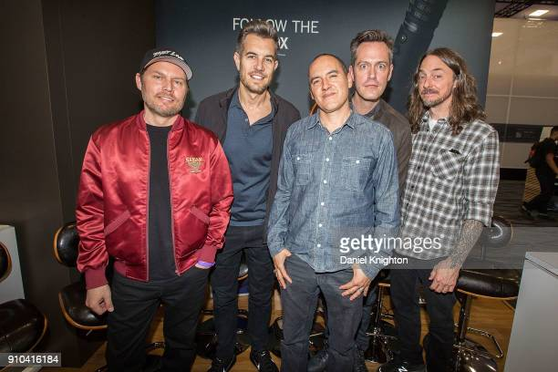 Musicians Chad Sexton, Nick Hexum, SA Martinez, P-Nut, and Tim Mahoney of 311 pose for a photo at Anaheim Convention Center on January 25, 2018 in...