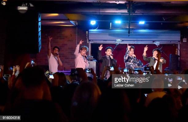 Musicians Chance Perez Brady Tutton Drew Ramos Michael Conor and Sergio Calderon of In Real Life perform on February 7 2018 in Los Angeles California