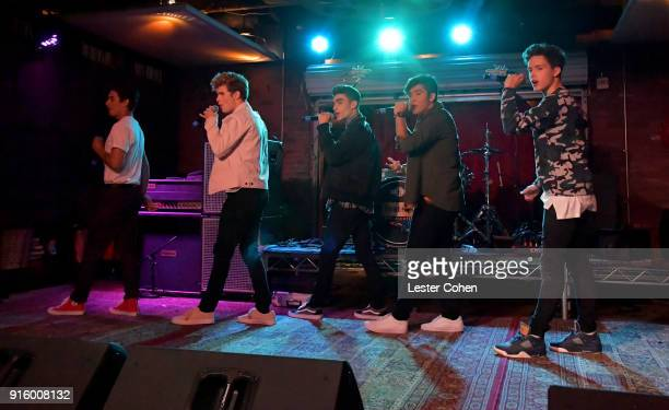 Musicians Chance Perez Brady Tutton Drew Ramos Sergio Calderon and Michael Conor of In Real Life perform on February 7 2018 in Los Angeles California