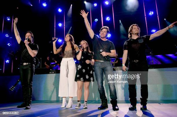 Musicians Charles Esten Lennon Stella Maisy Stella Chris Carmack and Jonathan Jackson perform onstage during the 2018 CMA Music festival at the...