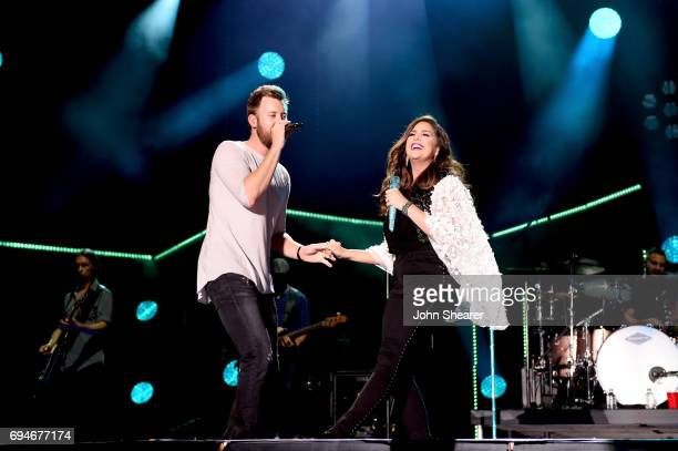 Musicians Charles Kelley and Hillary Scott of Lady Antebellum perform onstage of day 3 at the 2017 CMA Music Festival on June 10, 2017 in Nashville,...