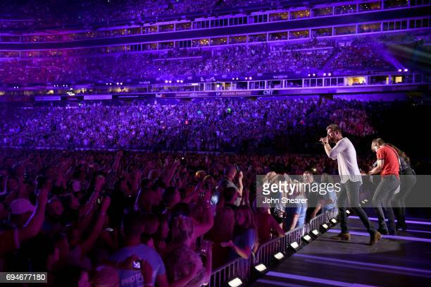 Musicians Charles Kelley, Dave Haywood and Hillary Scott of Lady Antebellum perform onstage of day 3 at the 2017 CMA Music Festival on June 10, 2017...