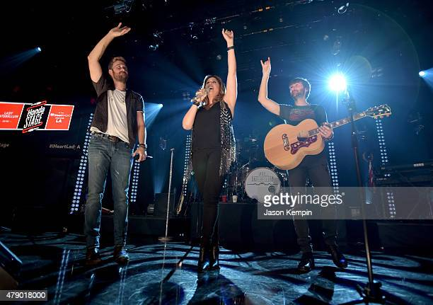 Musicians Charles Kelley Hilary Scott and Dave Haywood of Lady Antebellum perform on The Honda Stage at the iHeartRadio Theater on June 29 2015 in...