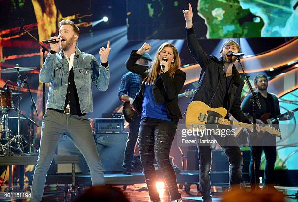 Musicians Charles Kelley Hilary Scott and Dave Haywood of Lady Antebellum perform onstage during The 41st Annual People's Choice Awards at Nokia...