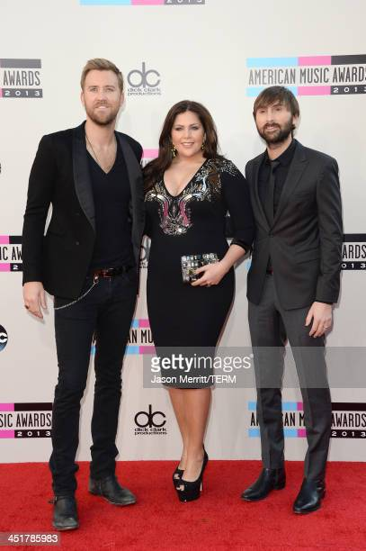 Musicians Charles Kelley Hillary Scott and Dave Haywood of Lady Antebellum attend the 2013 American Music Awards at Nokia Theatre LA Live on November...
