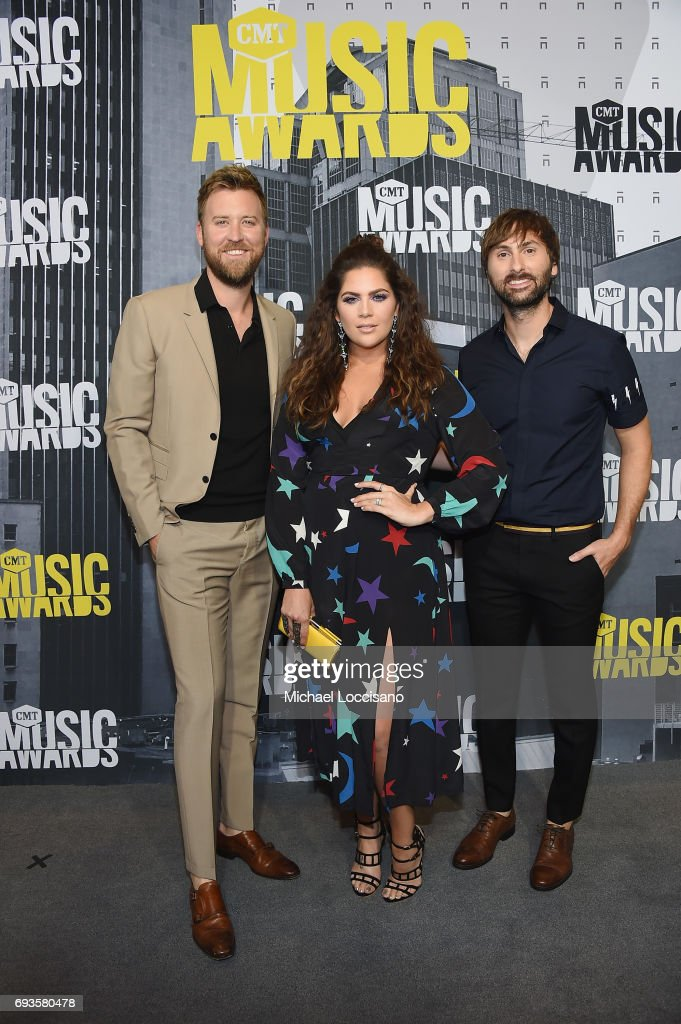 Musicians Charles Kelley, Hillary Scott and Dave Haywood of Lady Antebellum attend the 2017 CMT Music Awards at the Music City Center on June 7, 2017 in Nashville, Tennessee.