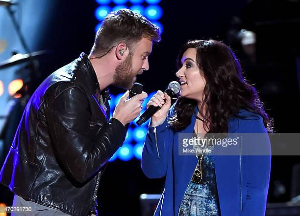 Musicians Charles Kelley of Lady Antebellum and Brandy Clark perform onstage during ACM Presents Superstar Duets at Globe Life Park in Arlington on...
