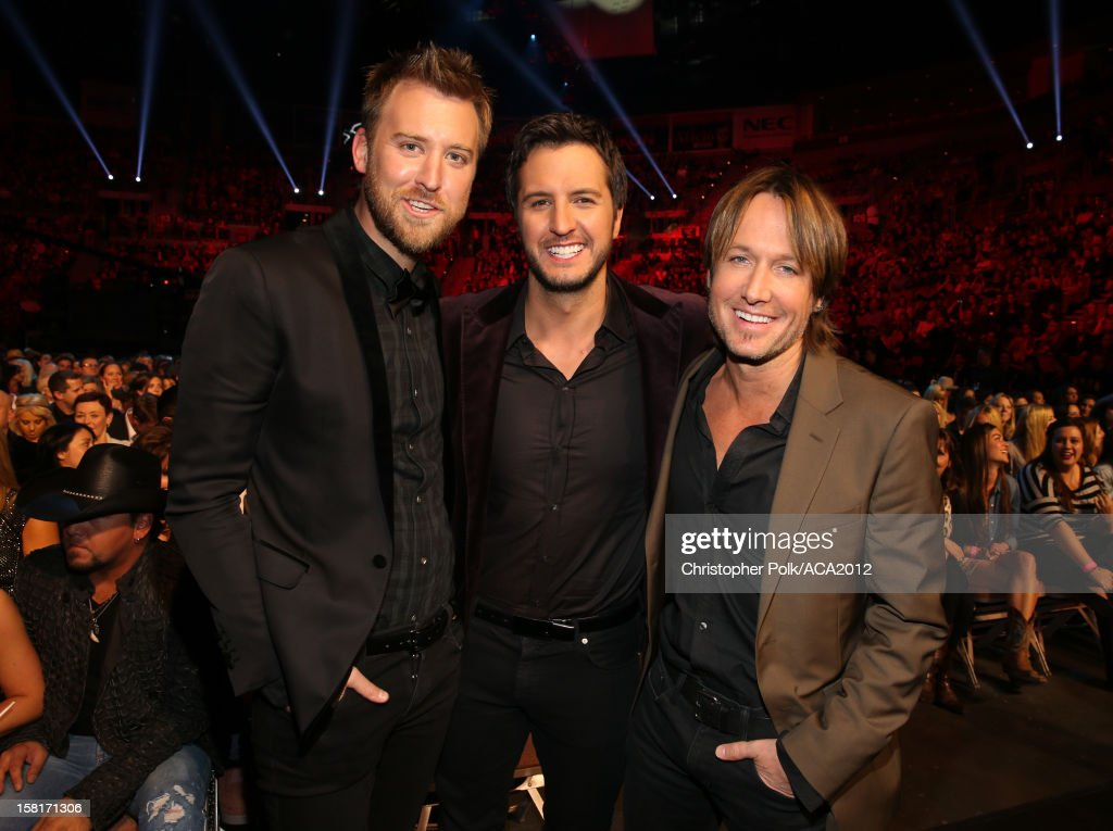 Musicians Charles Kelley of Lady Antebellum, Luke Bryan and Keith Urban attend the 2012 American Country Awards at the Mandalay Bay Events Center on December 10, 2012 in Las Vegas, Nevada.