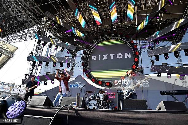 Musicians Charley Bagnall Jake Roche and Danny Wilkin of Rixton perform during 1027 KIIS FM's 2014 Wango Tango at StubHub Center on May 10 2014 in...