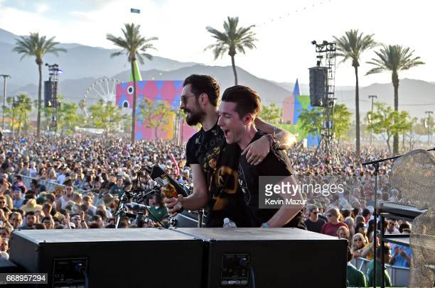 Musicians Charlie Barnes and Dan Smith of Bastille perform on the Outdoor stage during day 2 of the Coachella Valley Music And Arts Festival at the...