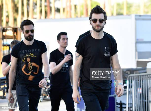 Musicians Charlie Barnes Dan Smith Will Farquarson and Kyle J Simmons of Bastille backstage at the Outdoor Stage during day 2 of the Coachella Valley...