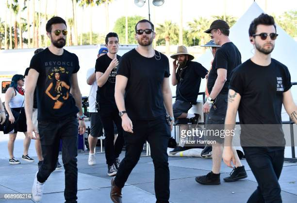 Musicians Charlie Barnes Will Farquarson and Kyle J Simmons of Bastille backstage at the Outdoor Stage during day 2 of the Coachella Valley Music And...