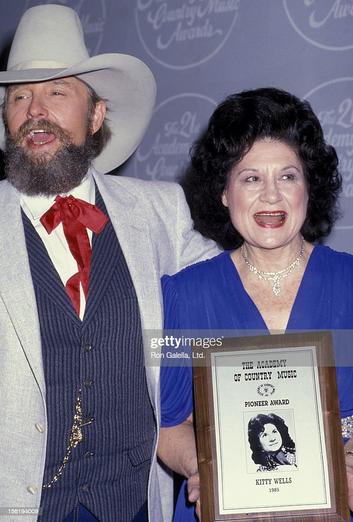 Musicians Charlie Daniels and Kitty Wells attend 21st Annual Academy of Country Music Awards on April 14, 1986 at Knott's Berry Farm in Buena Park, California.